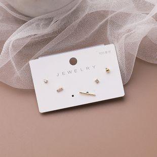 925 silver needle simple  five-piece copper earrings set wholesale  NHMS241598's discount tags