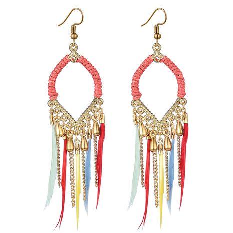 tendance de la mode boucles d'oreilles plumes polyvalentes simples NHSC242055's discount tags