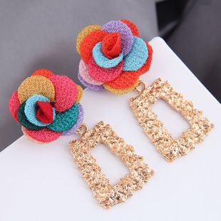boucles d'oreilles exagérées de fleur de forme géométrique en métal de mode en gros nihaojewelry NHSC242053's discount tags