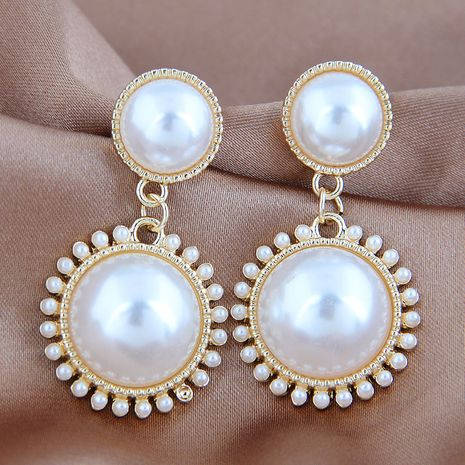 925 silver needle Korean fashion ladies pearl earrings wholesale nihaojewelry NHSC242052's discount tags