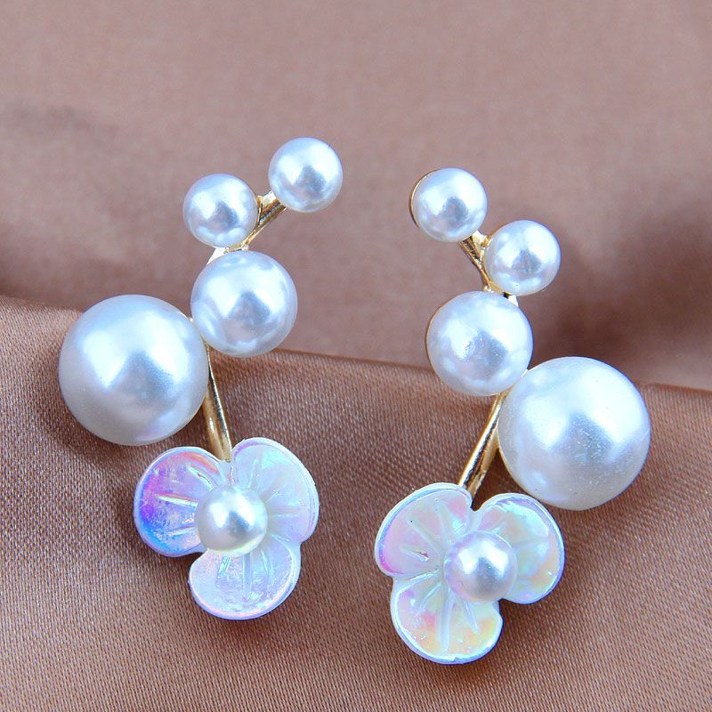 925 Silver Needle Korean Fashion Sweet Shell Flower Pearl Simple  Earrings NHSC242050