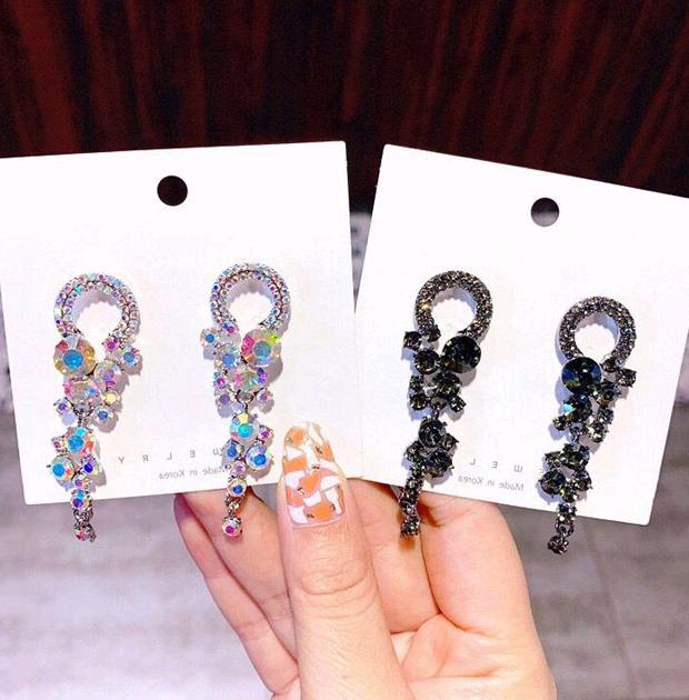 925 Silver Needle Korean Fashion Sweet Baroque Flash Diamond Concise Circle Earrings NHSC242048