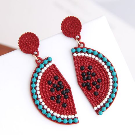 925 Silver Needle Korean Fashion Sweet Fruit watermelon women's Stud alloy Earrings NHSC242046's discount tags
