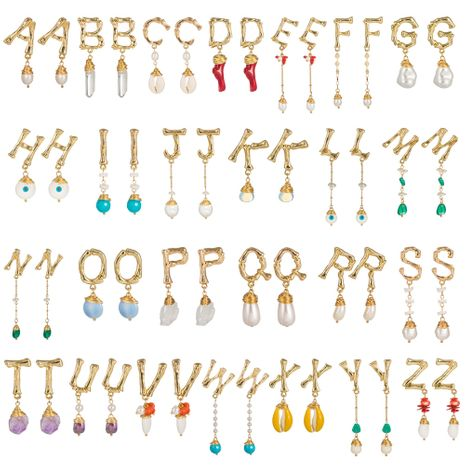26 alfabeto inglés pendientes de concha de perlas de piedra natural joyería al por mayor nihaojewelry NHAN241617's discount tags