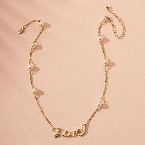 Korean pearl letter alloy love clavicle chai new necklace wholesale NHAI241622's discount tags