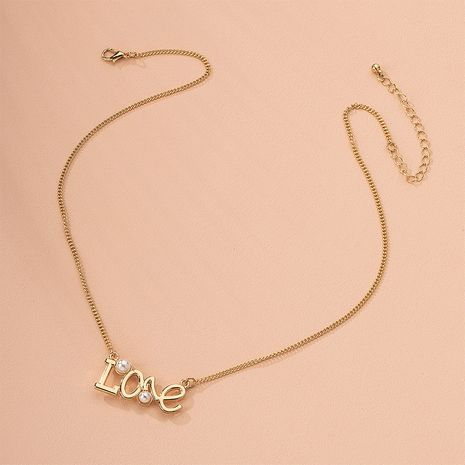 Fashion letter pearl retro gold love pendant simple sweater chain item alloy necklace wholesale NHAI241623's discount tags