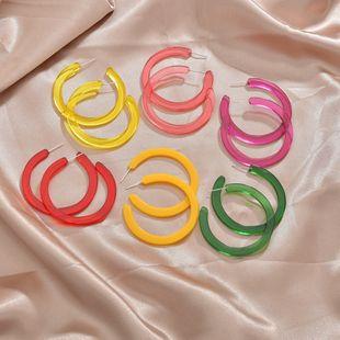 Corée du caoutchouc peinture acrylique type C boucles d'oreilles de couleur simple en gros nihaojewelry NHBQ241626's discount tags