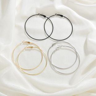 vente chaude ligne ronde style couleur grand cercle boucles d'oreilles en forme de C alliage boucles d'oreilles exagérées en gros nihaojewelry NHBQ241627's discount tags