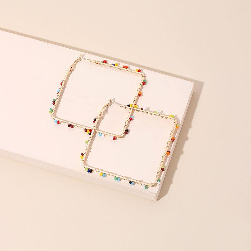 fashion exaggerated geometric rhombus hand-woven rice bead earrings for women  NHRN241630