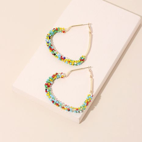 exaggerated rice beads love hand-woven color niche bohemian ethnic earrings NHRN241632's discount tags