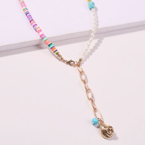 Boho style retro handmade beaded turquoise metal feather tassel necklace wholesale NHMD241633's discount tags