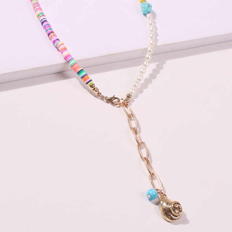 Boho style retro handmade beaded turquoise metal feather tassel necklace wholesale NHMD241633