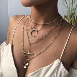 nuevo collar de múltiples capas colgante de flor de aleación de luna con diamantes retro de moda para mujeres NHMD241635