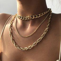 nuevo collar de cadena gruesa multicapa de textura de metal simple estilo punk NHMD241637