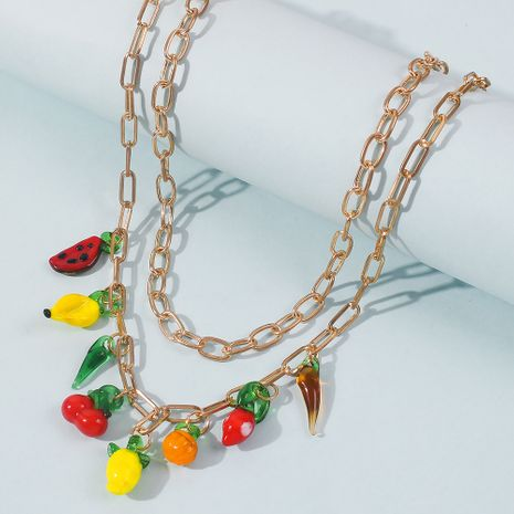 Summer Color Fruit Pendant Necklace Cute and Playful Watermelon Lemon Double Clavicle Chain wholesale nihaojewelry NHMD241640's discount tags