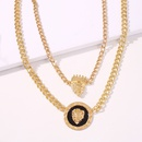 retro style lion head crown pendant alloy multilayer necklace hot sale wholesale nihaojewelry NHMD241644