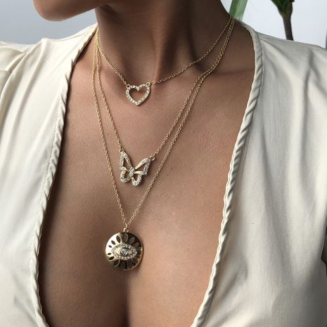 chaîne multicouche bohème rétro vente chaude chaîne pendentif oeil de papillon en gros nihaojewelry NHMD241652's discount tags