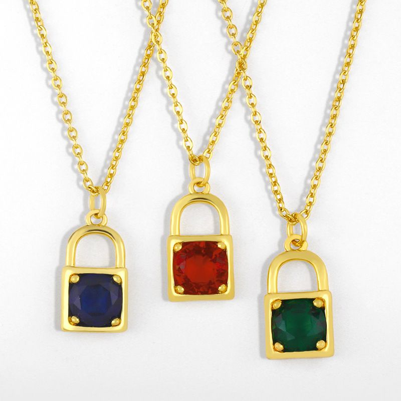 Simple niche small lock pendant hiphop Korean metal copper clavicle chain necklace  NHAS241655