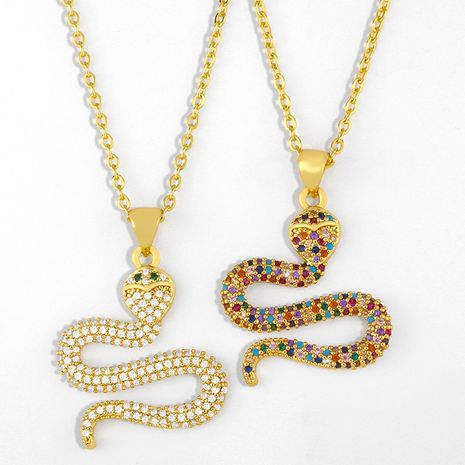 new fashion hip-hop snake-shaped pendant diamond copper necklace for women short chain wholesale  NHAS241656's discount tags