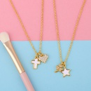 Korean short fivepointed star shell pendant diamond fourleaf clover copper clavicle chain necklace for women NHAS241657