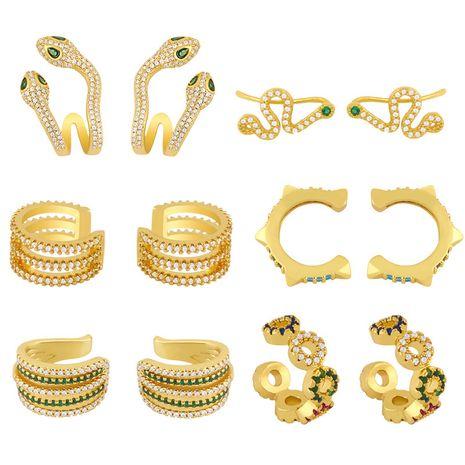 Pendientes de mariposa de cobre con clip de oreja afilado en forma de serpiente en forma de C para mujer NHAS241659's discount tags