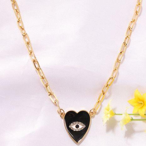Collier en forme de coeur noir en forme de diamant avec des yeux dégoulinants à la mode yeux du diable collier coeur pêche pour femme NHJQ241666's discount tags