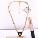 black heartshaped diamondstudded dripping eyes fashion devils eyes peach heart necklace for women NHJQ241666