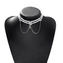 fashion pearl drop pendant petal net yarn bow knot symmetrical tassel double necklace for women NHJQ241669