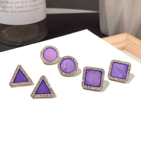 New purple geometric earring Silver Needle wholesale nihaojewelry NHFT241709's discount tags