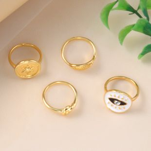 fashion all-match combination ring simple retro alloy dripping eyes leaf 4-piece ring wholesale nihaojewelry NHKQ241710's discount tags