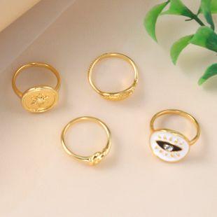 bague de combinaison de mode all-match simple alliage rétro gouttes yeux feuille bague 4 pièces en gros nihaojewelry NHKQ241710's discount tags