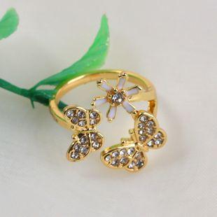 Bague de fleur de papillon dégoulinant de diamant rétro simple de Corée en gros Nihaojewelry NHKQ241711's discount tags