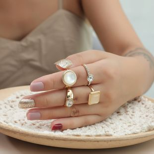 hot sale fashion diamond alloy ring simple retro gemstone 4 piece ring wholesale nihaojewelry NHKQ241713's discount tags
