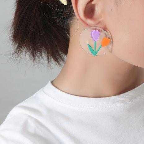 Korea Fashion Acrylic Simple Fresh Purple Tulip Earrings for women NHKQ241728's discount tags