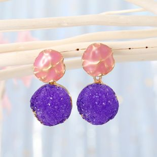Korean fashion simple natural stone round jelly color women's earrings  NHGO241731's discount tags