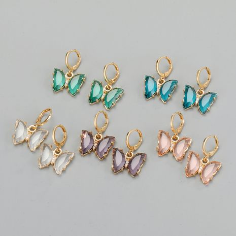 crystal butterfly earrings exquisite diamond-studded glass earrings wholesale nihaojewelry NHGO241732's discount tags