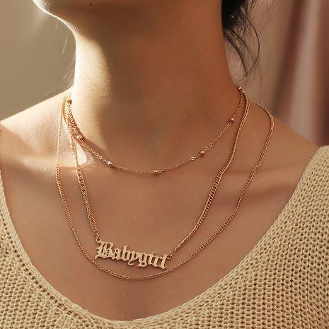 Collier en alliage de tendance de chaîne de perles rondes géométriques simples pour femmes NHNZ241737's discount tags
