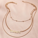Fashion simple geometric round bead chain trend alloy necklace for women NHNZ241737