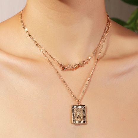 Collier pendentif géométrique à double couche de l'alphabet anglais de mode marée pour les femmes NHNZ241739's discount tags