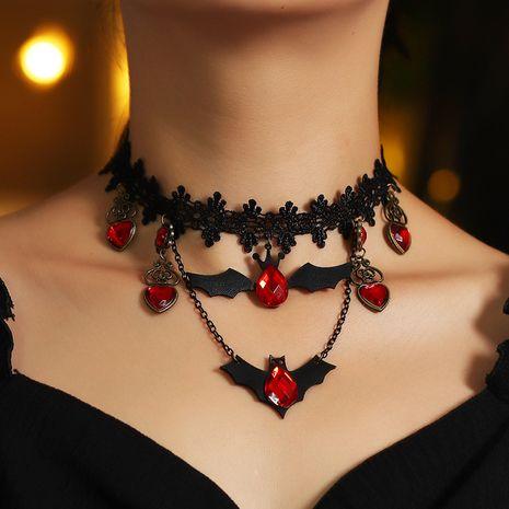 Fashion creative lace exquisite Halloween lace bat necklace wholesale NHNZ241748's discount tags