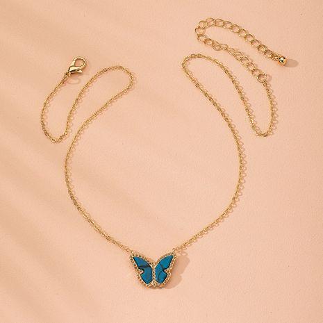 Nouveau dégradé papillon forêt bleu petit collier en alliage de papillon chaîne de clavicule fraîche pour les femmes en gros NHAI241751's discount tags