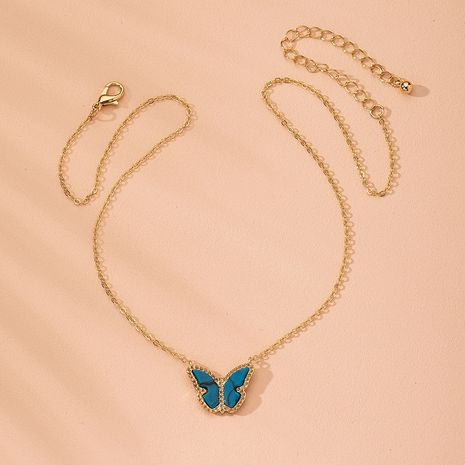 New gradient butterfly forest blue small fresh clavicle chain butterfly alloy necklace for women wholesale NHAI241751's discount tags