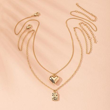 Korean new simple alloy trend Korean love disc pendant clavicle chain necklace wholesale NHAI241756's discount tags