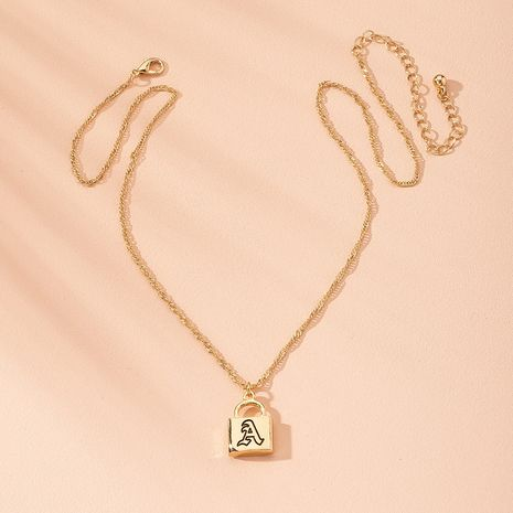 hot-selling locks letters clavicle chain simple chain niche collar pendant trendy jewelry NHAI241759's discount tags