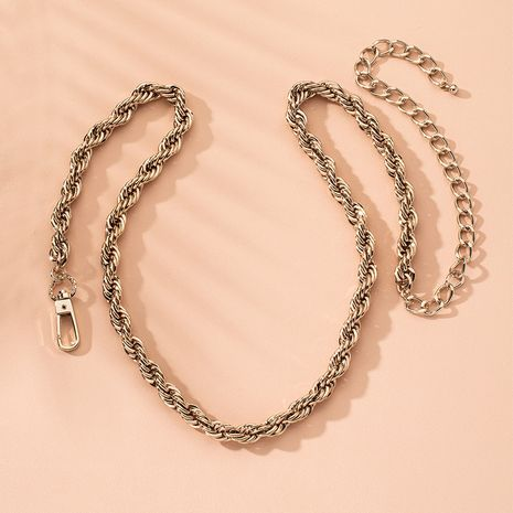 Fashion simple twist rope round bead exaggerated style clavicle chain choker necklace for women NHAI241767's discount tags