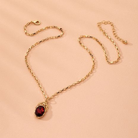 Fashion tide ruby diamond pendant clavicle chain simple alloy necklace for women NHAI241770's discount tags