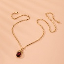 Fashion tide ruby diamond pendant clavicle chain simple alloy necklace for women NHAI241770