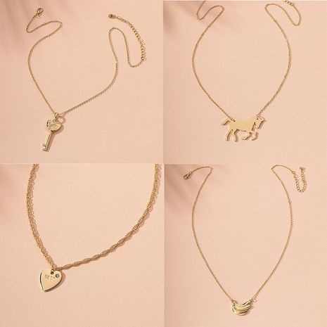 Fashion love-shaped horse key banana simple alloy necklace for women hot sale wholesale  NHAI241773's discount tags