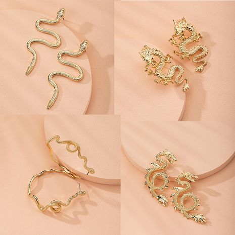 retro exaggerated snake-shaped dragon-shaped fashion creative earrings wholesale nihaojewelry NHAI241774's discount tags