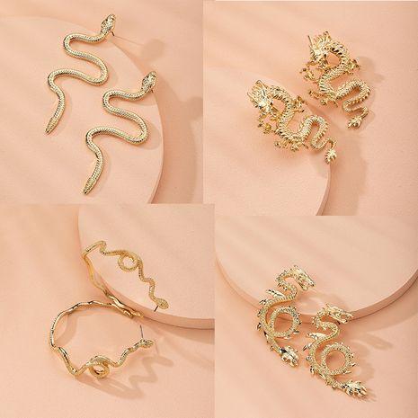 retro exaggerated snake-shaped dragon-shaped fashion creative earrings wholesale nihaojewelry NHAI241774's discount tags